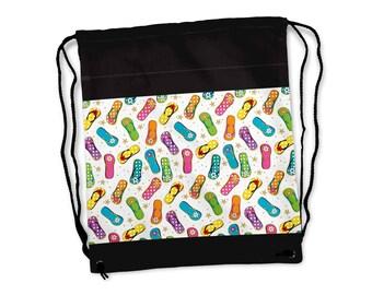 Beach Flip Flops Cinch Sack | Drawstring Bag | Backpack FREE SHIPPING