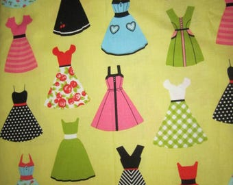 Riley Blake Retro Dresses Yellow Background Fashionista Different Vintage Dresses  Colorful   By the Yard  Super Cute!