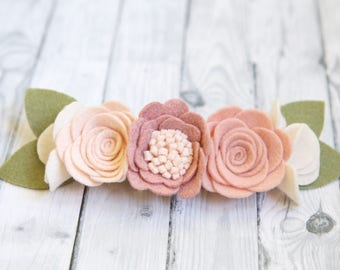 Blush Pink 1st birthday girl, Felt Flower Crown, felt flower headband, baby headband, flower girl headband, Baby shower gift, photo props