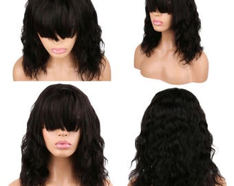 100% Human Hair Lace frontal Wig Wet and wavy style with bang