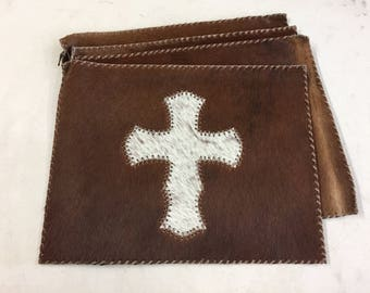 Cowhide Placemat Set with Cross  | FREE SHIPPING