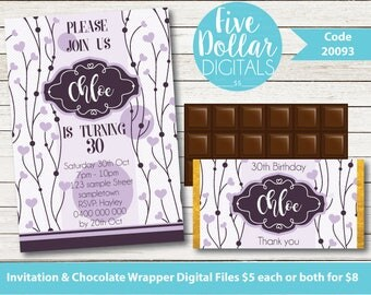 Purple Hearts Vine Personalised Digital Birthday Invitation & Chocolate Candy Bar Wrapper Printable