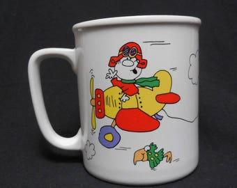 1986 Skywriters Treasure Masters I'M High On You Air Plane Cartoon Coffee Mug Made in Japan