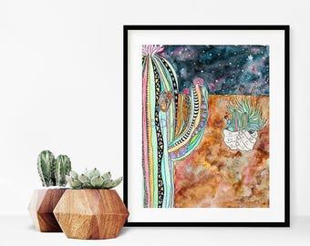 Saguaro Cactus Art Print/Desert Landscape watercolor painting/Desert Decor/Southwest Art/Desert Wall Decor/Botanical Art Print