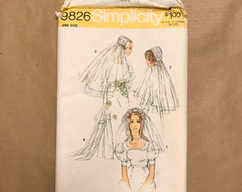 Vintage 1971 Sewing Pattern - Simplicity 9826 - Bridal Headpieces and Veil