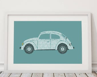 Wedding gift, beetle, personalized, gift baptism, Hippie,birth announcement, art print,inauguration, Save the date, birth