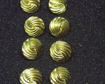 French Vintage Buttons - Retro Golden Buttons - Set of 8 Metal Look Buttons