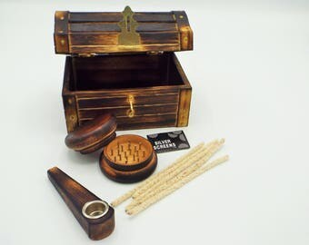 Smoking Pipe Treasure Chest Wood Pipe Herb Tobacco Weed Grinder Pipe Cleaners Metal Pipe Screens Stash Kit Storage Box Stone Pipe Glass