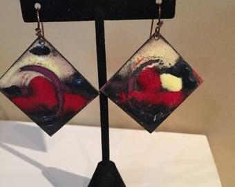 Enamel abstract designer earrings