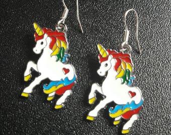 Unicorn earrings, rainbow unicorn earrings, silver unicorn earrings, ladies earrings, childrens earrings