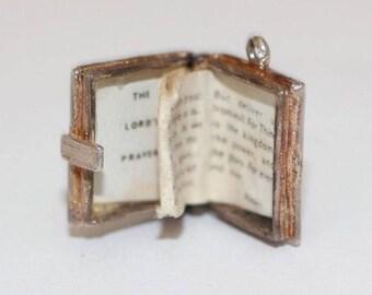 Vintage Sterling Silver Bracelet Charm Opening Holy Bible Folding Prayer (3.3g)