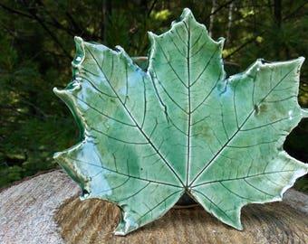 Handmade pottery maple leaf dish