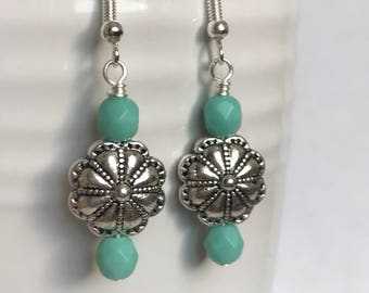 Turquoise and Silver Dangles-Southwestern Silver Dangles-Turquoise Dangles-Turquoise Green Dangles-Flower Dangles-Handmade Dangles