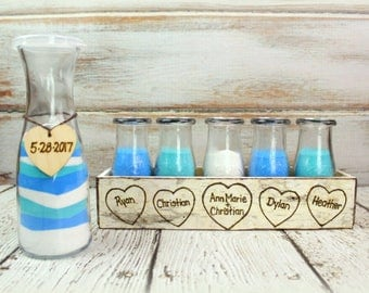 Unity Sand Ceremony Set - Family Unity Sand Ceremony - Blended Family Sand Ceremony - Birch Bark - Wedding Crate - Personalized (6 person)