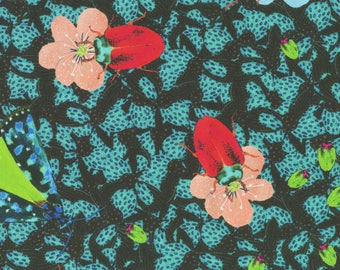 """Square scarf silk, """"The beetles Craquettent"""" butterfly scarab flower motifs"""