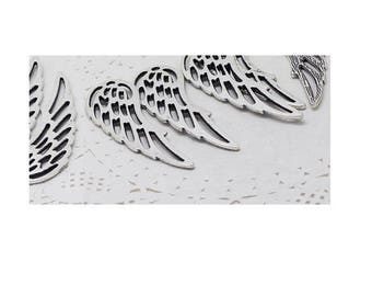 large 6cm (C54) silver angel wing connector charm