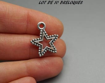set of 10 charms Star (A03) silver fancy pendant charm