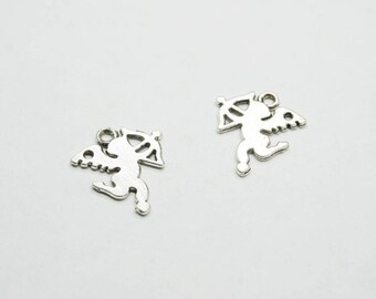 SET of 10 silver Cupid (D74) Angel charms