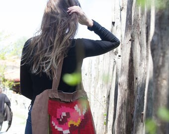 Handmade Suede Tote Bag from Vintage Hand-loomed Hellenic Wool Rug