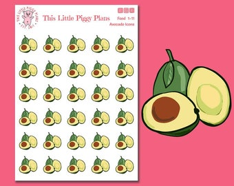 Avocado Planner Stickers - Avocado Stickers - Food Icon Stickers - Food Stickers - Fruit Planner Stickers - Fruit Icons - [Food 1-11]