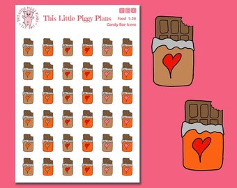 Chocolate Bars Planner Stickers - Candy Bars Stickers - Chocolate Bar Icons - Candy Bar Icons - Chocoholic - Chocolate- Candy - [Food 1-28F]