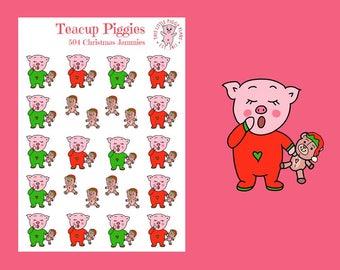 Teacup Piggies - Christmas Jammies Oinkers - Mini Planner Stickers - Christmas Stickers - Bedtime Stickers - Teddy Bear Stickers - [504]