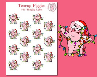 Teacup Piggies - Hanging Lights - Christmas Lights - Mini Planner Stickers - Christmas Stickers - Holiday Stickers - Seasonal - Xmas - [522]