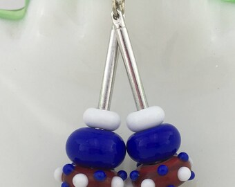 Catoctin Mountain Jewelry Red White and Blue SRA Lampwork, American Made Cane Glass and Sterling Silver Patriotic USA Dangle Earrings Jewelr