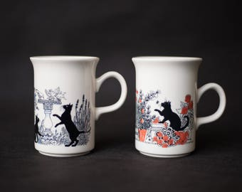 2 x Churchill, black cat playing in a garden of birds - Mug - Cup Coffee - Tea Cup - porcelain Made in England - decorative kitchen