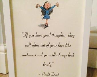 Matilda Roald Dahl Vintage Style A4 Quote Print Art Unframed Ideal Gift Nursery Birthday Christening
