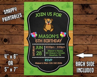 Bear Birthday Invitation, Birthday Invite, Party Invite, Printable, Digital File - 044