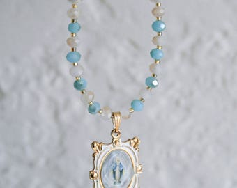 Mother Mary Crystal Necklace