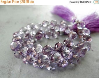57% Celebration Sale-- Purple quartz faceted onion briolette onions-  5-6mm. 4 inches long