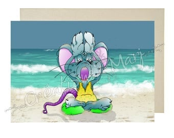 Mouse yoga, CarteYoga card Relaxation, happy, sports card congratulations card, card training