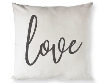 Cotton Canvas Love Home Decor Pillow Cover, Pillowcase, Cushion Cover and Decorative Throw Pillow, Love Gift, Valentine's Day Gift, DIY Gift