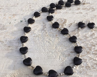 Obsidian Heart Jewellery Set necklace bracelet and earrings