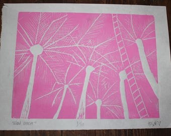 Palm Trees at Sunset Print - Pink 1
