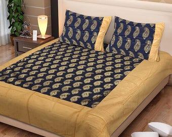 Jaipuri Patola Gold Print Cotton Bedsheet Double