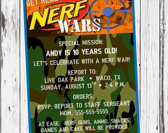 Nerf Birthday Invitation, Nerf Gun Party, dart gun bday invite, camo, camoflauge, nerf wars, digital invitation, printable invitation