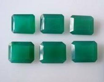 Natural lot of 15 pcs. Green Onyx 100% octagon cut 7x9mm Faceted loose gemstone for women jewelry