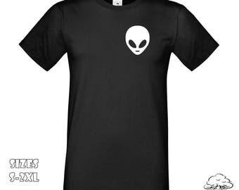 Alien Logo T Shirt   Alien Pocket T-Shirt, Alien Logo T Shirt, Alien T Shirt, Alien Tee, Indie t-shirt, Hipster Shirt, Alien Logo