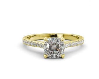 0.50 ct Cushion Forever Classic Diamond Engagement Ring 14K Yellow Gold, Wedding Band,Modern Solitaire Engagement Ring
