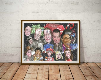 Red Dwarf, Eco Friendly, Cult Caricature A3 Print/Poster