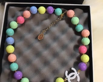New cute cc candy multicolored pearl necklace chanel inspired