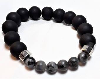 Men's Onyx & Labradorite Wrist Mala