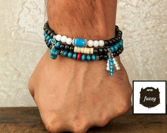 Mens Bracelet, Tribal bracelet set, Men African bracelet, Men Bracelet, Mens Tribal bracelet set, Men stretch bracelet set
