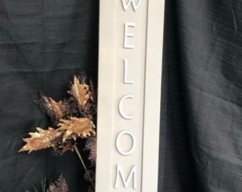 Engraved Welcome wooden sign.  Can personalize.  Painted and letters cut out with engraver.  Many choices of colors or customization.