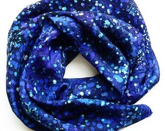 Silk Scarf, Handpainted Silk Square, Foulard en Soie, Carré de Soie, Mother's Day, Cadeau , Blue Silk, Soie Bleue, Gift For Her, Batik