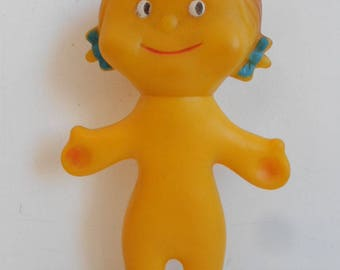 "Vintage Combex style yellow 8"" Doll with squeaker"
