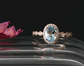 8*6mm Oval Cut Natural Aquamarine Engagement Ring Stackable March's Birthstone Aquamarine Ring 14K Rose Gold Halo Ring Art Deco Bridal Ring
